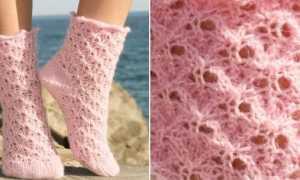 Cхема вязания красивых коротних женских носков спицами