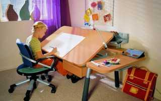 Высота стола и стула для ребенка от 2 до 12 лет по росту (таблица)